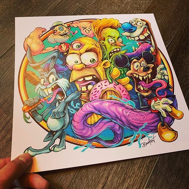 This cartoon mashup parody is one of my favorite drawings from the last few years. If you've ever wanted to a print of any of my artwork, all of my art prints are 20% off right now. Thanks so much for looking!https://www.flylanddesigns.com/shop/#homersimpson #stimpy #popeye #fanart #artprints #artwork #mario #rickandmorety #trump #alien #parody #sale