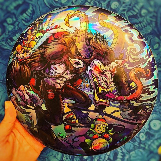 Here's a photo of my new Krampus limited edition Foil Disc Golf disc - just came in, shipping now. I've got about 8 left of the 50 in my shop. Each is a signed and numbered, Discfaft Buzzz Disc. Thanks for all your support!•••#krampus #krampusart #krampusfan #discgolf #frisbeegolf #discraftdiscs #teamdiscraft #discraft #disc