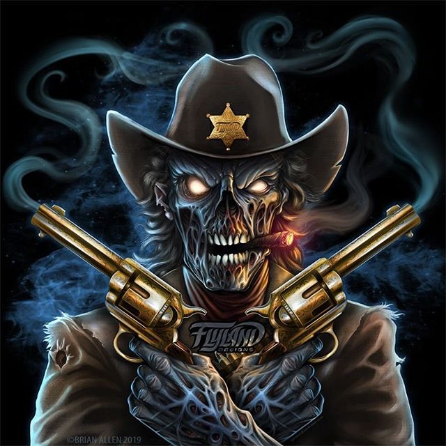 Gunslinger Zombie I digitally painted for Invision Artworks for snowmobiles. This graphic is available for licensing - contact me if you've got a good use for it!•••#art #digitalart #zombie #zombieart #cowboyart #illustration #hireanillustrator #freelanceartist #wacomcintiq