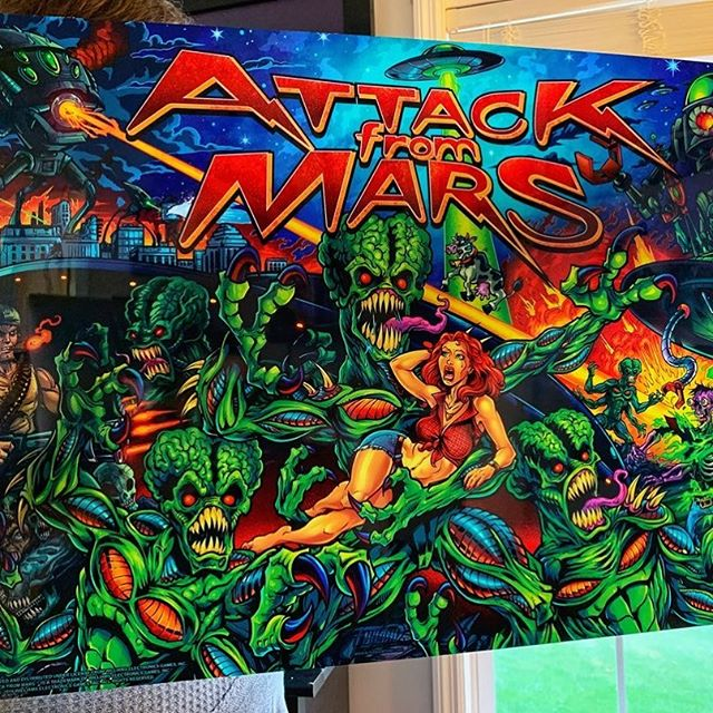 I'm ordering a new batch of these Attack From Mars pinball Translites - let me know if you'd like one! Thanks for all the support on these.#attackfrommars #williams #bally #pinballart #pinballartwork #pinballexpo #pinball #pinballmachine #playfield #backglass #alienart #scifiart
