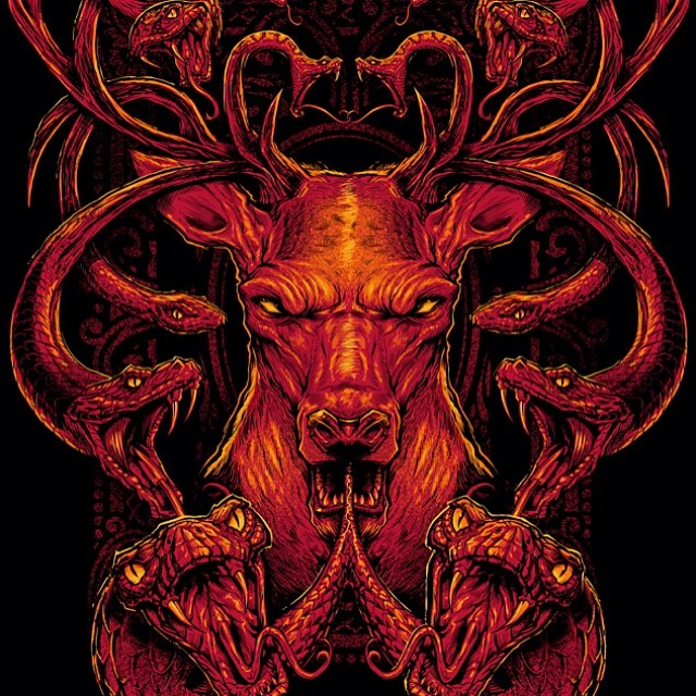 Silk-screen medusa buck I did for a t-shirt design.