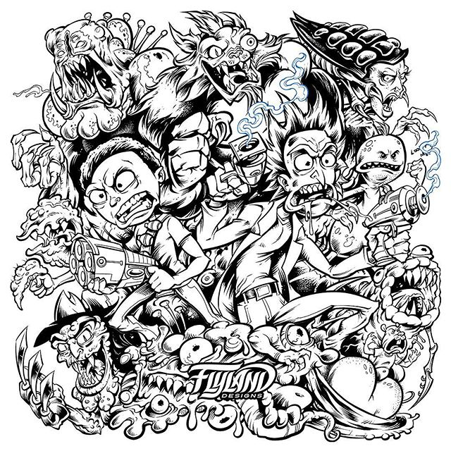 I'm printing my Rick and Morty artwork on my next metallic foil Disc Golf Disc. Here's the black and white lineart before I added color. Rick and Morty quickly became my favorite animated series. at least until I watch Ren and Stimpy again.These are up in my shop and shipping now!#rickandmorty #rickandmortyfan #discgolf #frisbeegolf #discraftdiscs #teamdiscraft #discraft #disc
