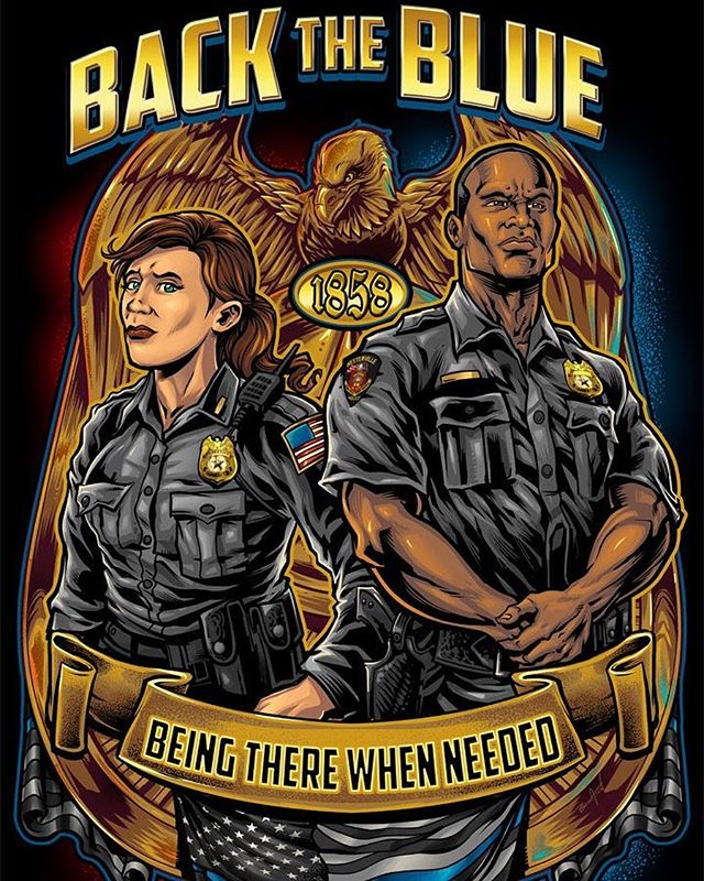 This design I created was to help raise money for a police officer who was tragically killed on duy in Westerville OH with Traxler Tees. Very different style for me, but they were very happy with how it turned out.#art #backtheblue #thinblueline #clipstudiopaint #illustration #hireanillustrator #bluelivesmatter #wacomcintiq