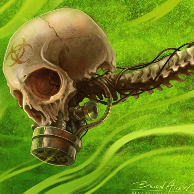 Skull with a gas mask that I digitally painted just for the heck of it. www.flylanddesigns.com
