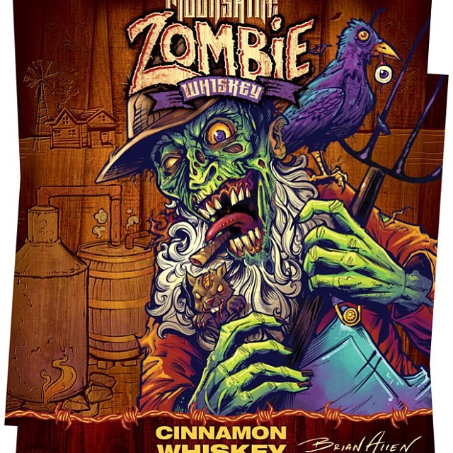 I created this Redneck zombie illustration for a bottle label for a new brand of spirits called Moonshine Zombie.