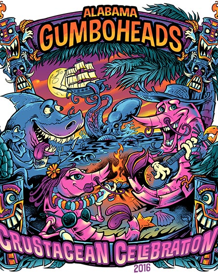 Shrimp, shark, tiki heads, turtl