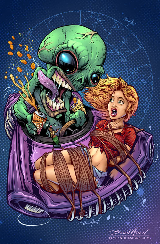 Illustration of an alien abducting a redneck girl