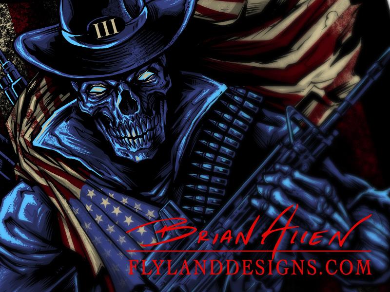 American Patriot Skull T Shirt Design Flyland Designs