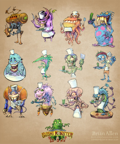 zombie and monsters character designs for sushi math educational app
