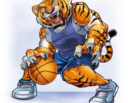 Cartoon Mascot of Tiger Playing