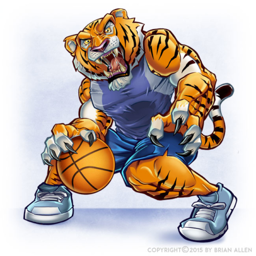 Cartoon Mascot of Tiger Playing