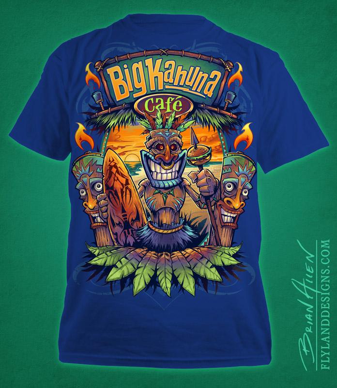 Tiki man on beach T-Shirt design for restuarant