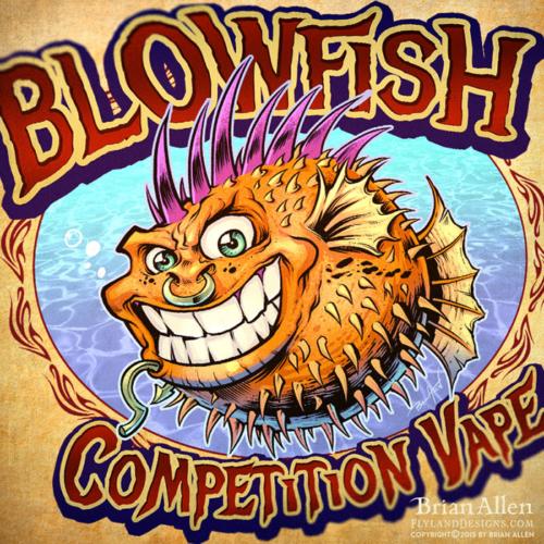Blowfish cartoon character punk rock for logo