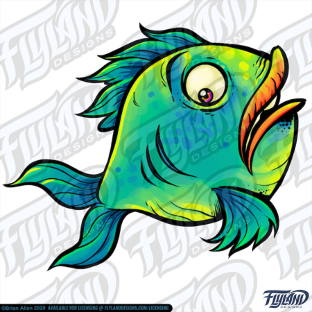 Blue green, yellow scared fish
