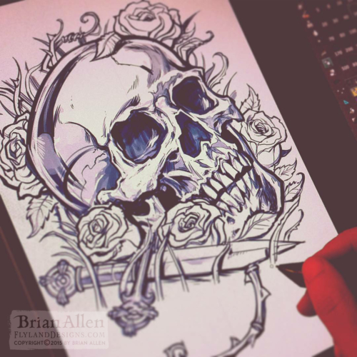 t-shirt design of a skull and da