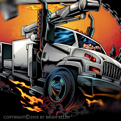 Stylized illustration of a bucket utility truck for a power company