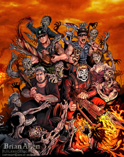 Illustration of comic book style hip-hop artists fighting a horde of zombies