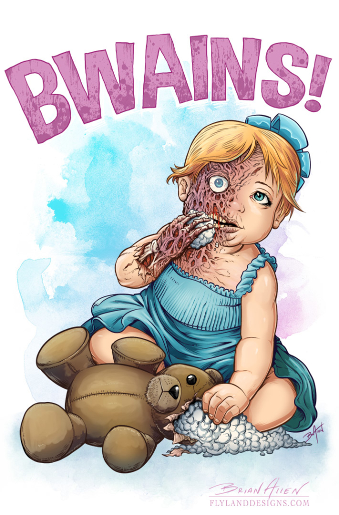 Illustration of a young toddler girl zombie eating the brains out of her teddy bear
