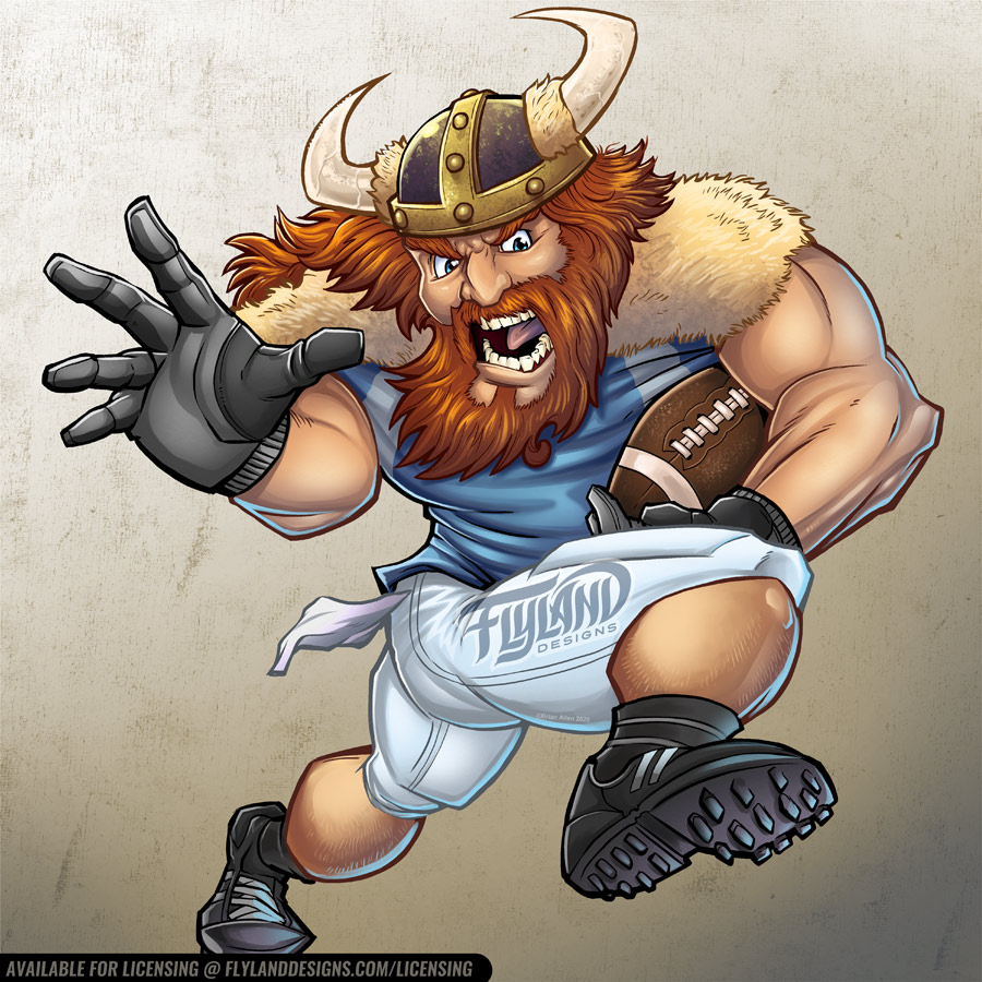 Viking Football Player with fur