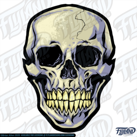The cartoon skull is a beige with a blue-grey shadow, and the teeth are a yellowish color—the skull as a crack on the left side of the head. Stock Artwork by freelance illustrator Brian Allen