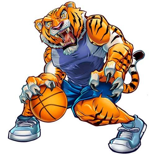 Tiger character design playing basketball