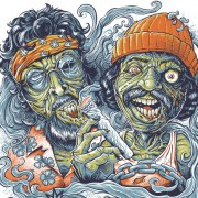 T-Shirt illustration of Cheech and Chong as zombies in Up In Smoke
