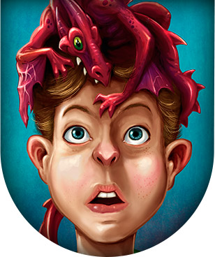 Children's Book illustration of a boy with a dragon on his head