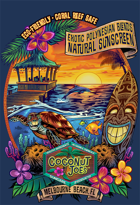 Coconut Joe's hired me to update their branding, and create this colorful, beach-themed t-shirt design to promote their line of natural sun-care products.