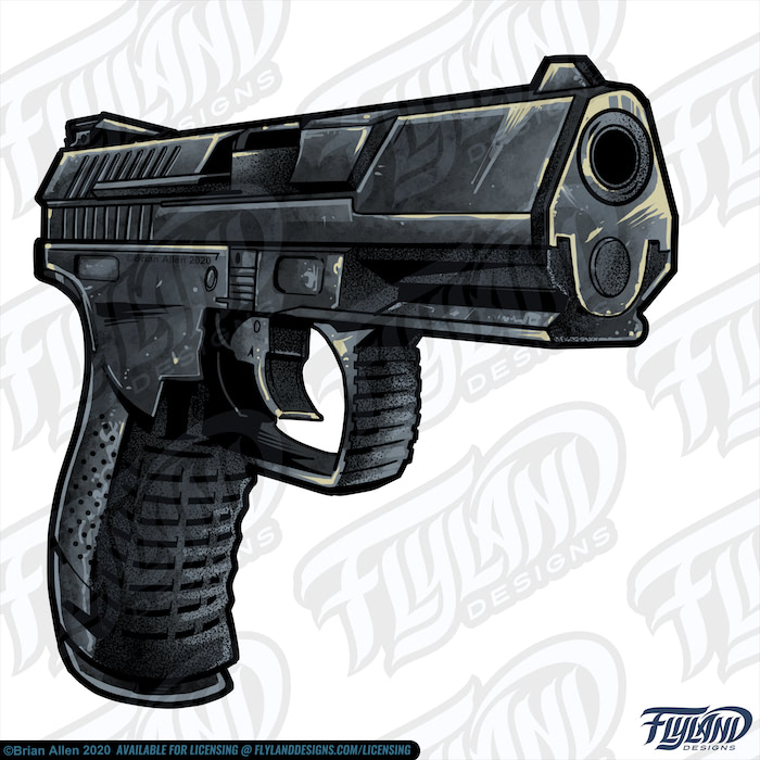Black smoking compact Pistol