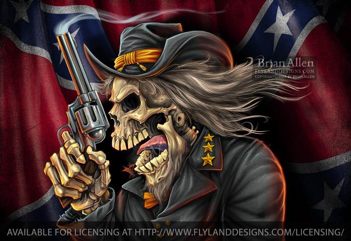 Civil War Confederate Rebel Skul