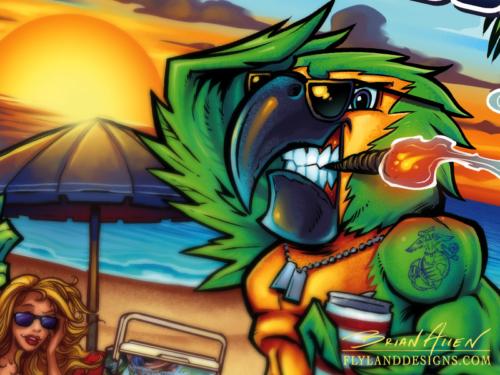 Parrot Beach Illustration for Custom Graphic Wrap