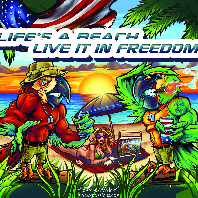 Custom illustration of two parrots on the beach for a graphic wrap