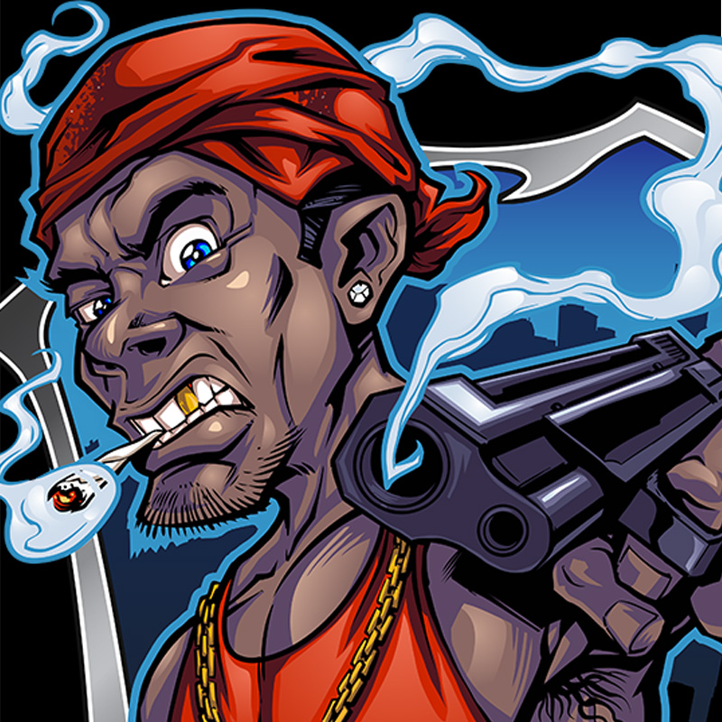 Cartoon Characters Gangster : Gangster mascot illustration flyland designs freelance