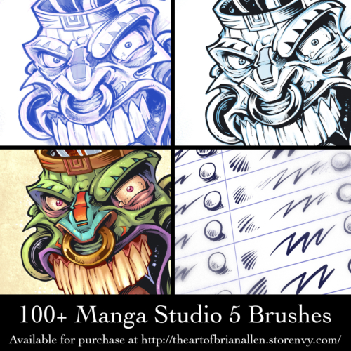 Custom brush presets for Manga Studio 5 (Clip Studio Paint)