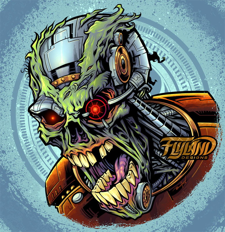A cyborg robot zombie head with