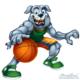 Sports mascot illustration of a bulldog playing basketball for kids