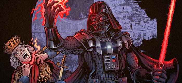 Darth Vader force-choking two po