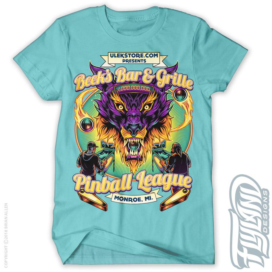 Purple and Orange wolf head with
