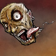 Illustration of a zombie head in an apocalypse for a heavy metal music video