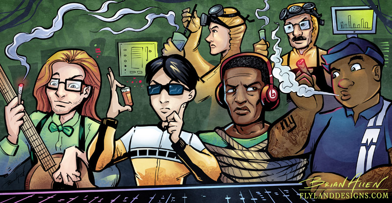 Comic strip illustration of hip-hop characters kidnapping Dr. Dre with Breaking Bad characters
