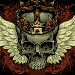 T-Shirt illustration of a skull with a crown and wings for skateboarders
