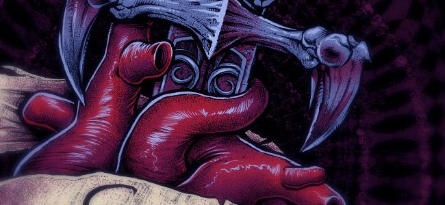 T-Shirt illustration of a sketleton dagger through a realistic looking heart