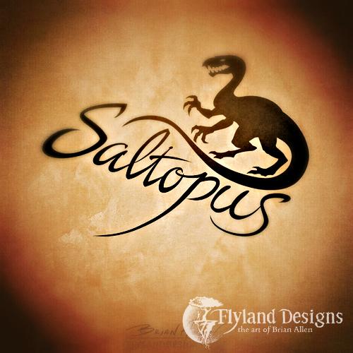 Logo design of a saltopus dinosaur for an apparel brand