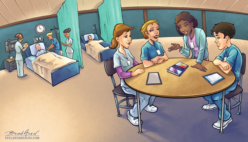 Nursing Classroom Design ~ Brochure illustrations for elsevier flyland designs
