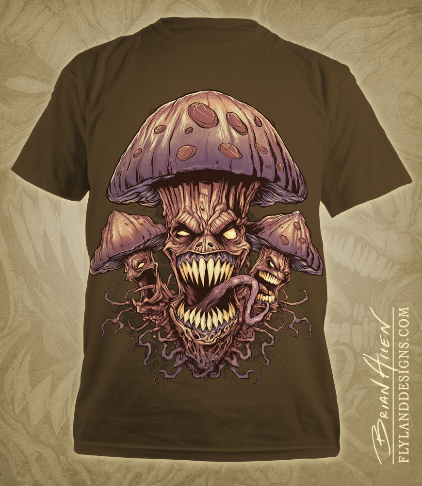 Illustration of evil mushrooms for a marijuana apparel brand