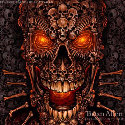 Giant skull made of smaller skulls illustration for dye-sublimated wrestling singlets.