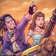Steampunk fantasy sci-fi characters on ship for book cover