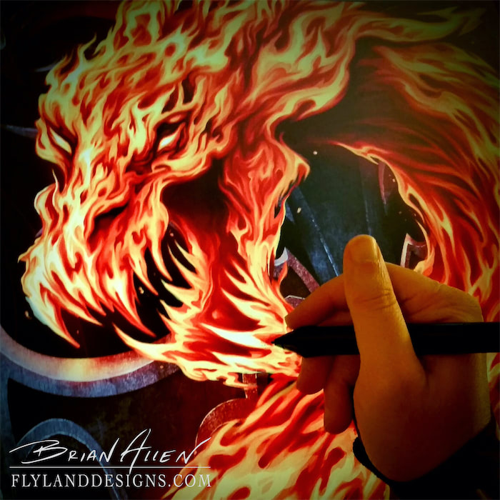 T-Shirt illustration of a dragon made of fire