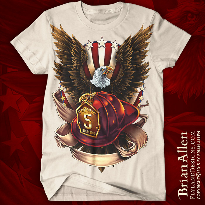 T-Shirt illustration of an eagle spreading its wings behind a fire-fighter's helmet.