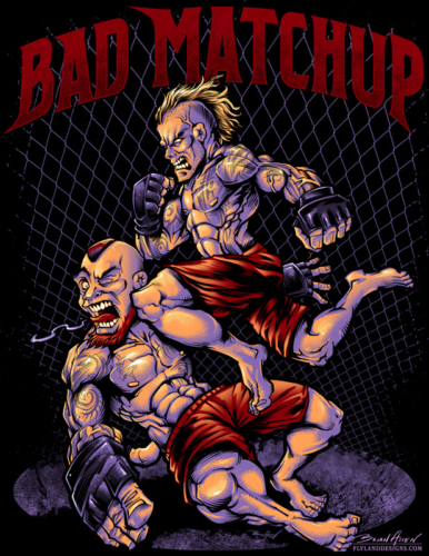T-Shirt illustration of two MMA fighters in flying knee move